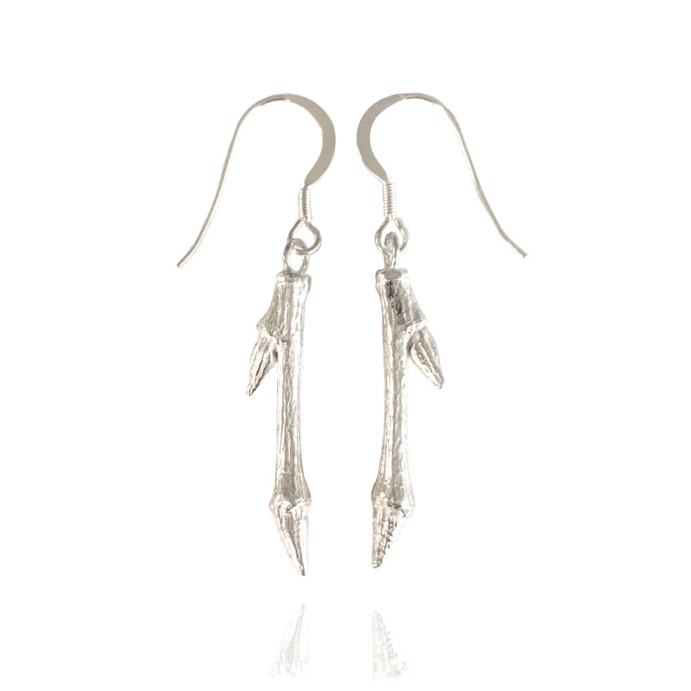 Image of Short silver twig earrings