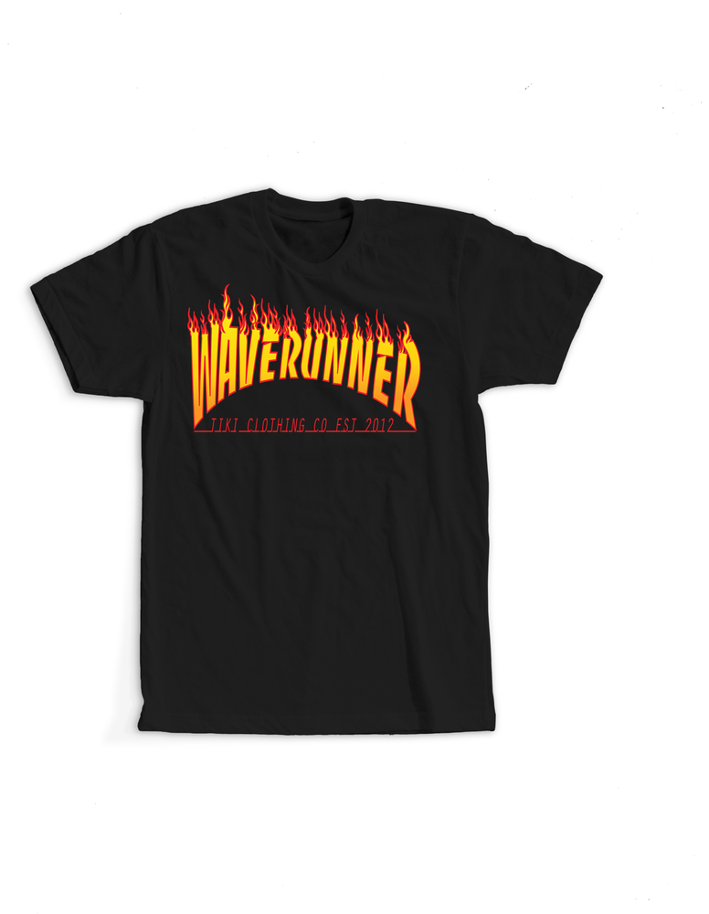 Image of Tiki WaveRunner Flame Logo Tee(Black)