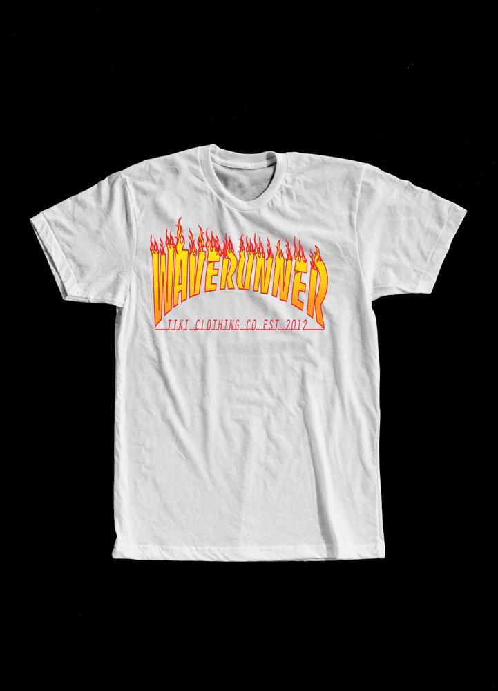 Image of Tiki WaveRunner Flame Logo Tee(White)
