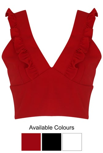 Image of Ruffle V neck crop top RED
