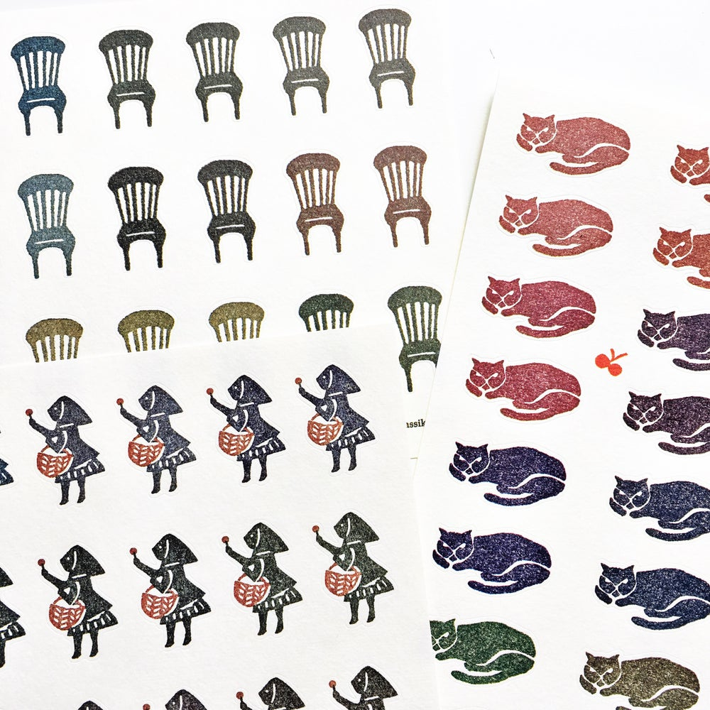 Image of Classiky Sticker Sheet /Chairs/Cat/Girl
