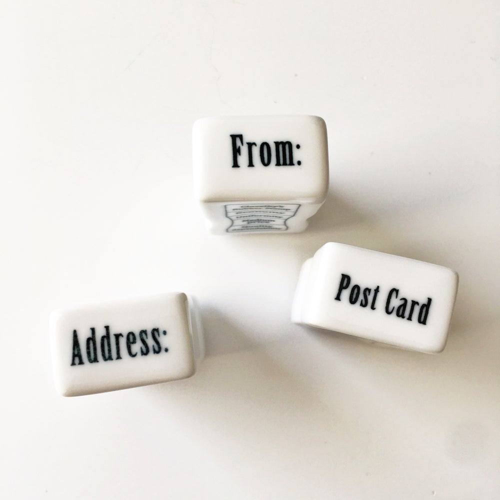 Image of Classiky Porcelain Office Stamps / From / Address / Post Card