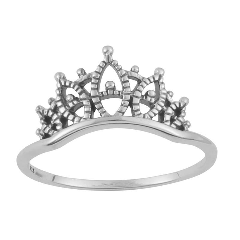 Image of Sterling Silver Lacework Crown Ring