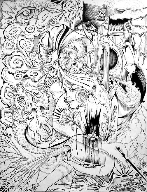 """Image of """"Dark Arts"""" Original Drawing"""