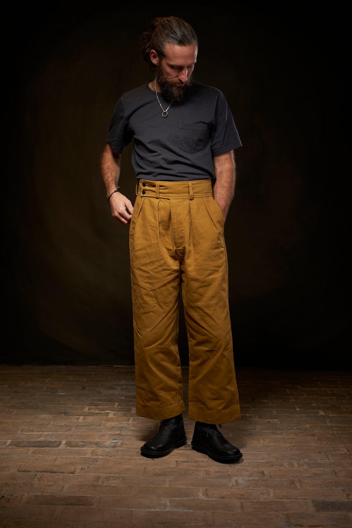 Image of Captain Trouser Herringbone - Tan £235.00