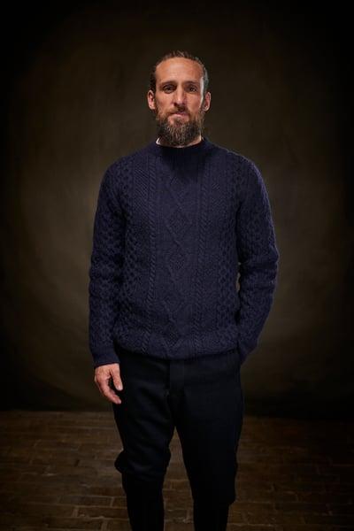 Image of Old Sailors Aran Sweater - Navy £165.00