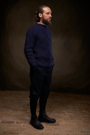 Image of Old Sailors Aran Sweater - Navy £165.00