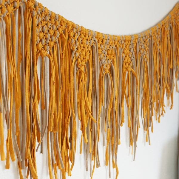 Image of Macrame bunting - mustard and cappuccino grey