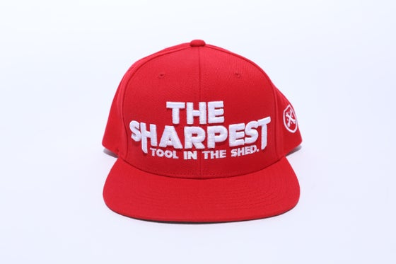 Image of THE SHARPEST TOOL IN THE SHED Red Snapback