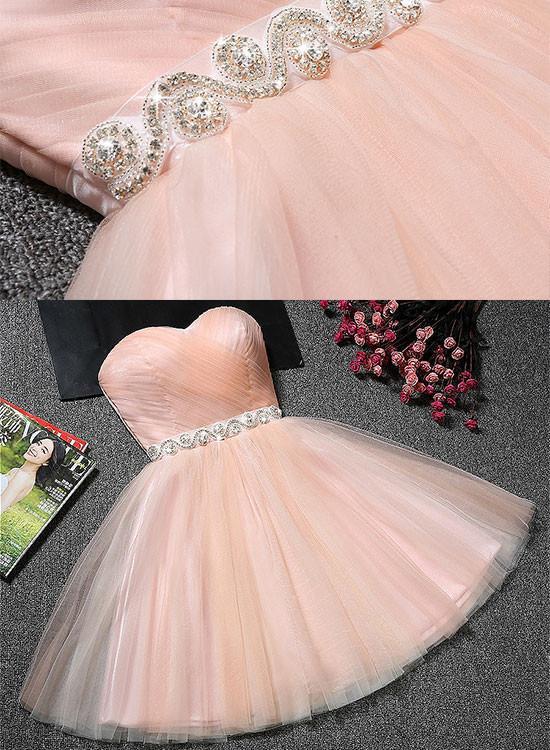 Pink Tulle Handmade Homecoming Dresses, Cute Formal Dresses, Short Prom Dress 2018