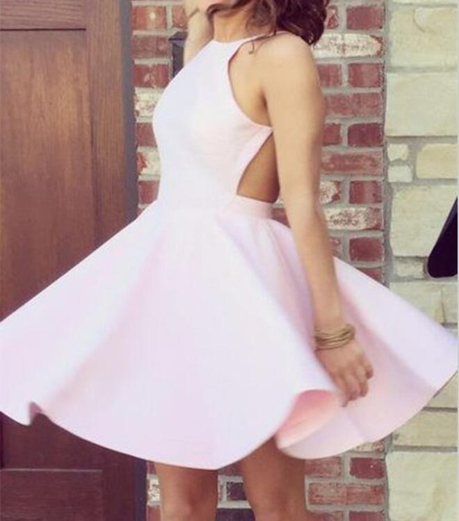 New Teen Style Halter Short Homecoming Dresses, Pink Prom Dresses,Lovely Party Dresses