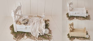 Image of The DUTCHESS - Rustic Wooden Bed - Newborn, Sitter, Toddler - Photography Prop