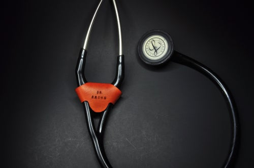 Image of Cardiologist Leather Stethoscope ID Name Tag