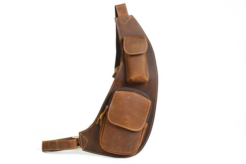 Image of Handmade Vintage Genuine Leather Messenger Bag, Shoulder Bag, Chest Bag, Waist Pack 2009