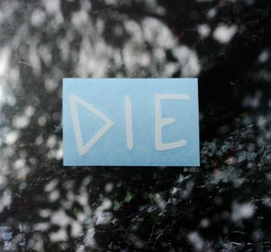 "Image of White ""DIE"" Decal"