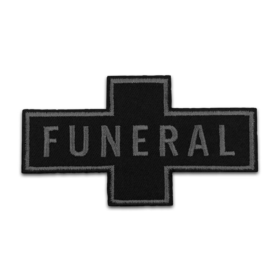 BLACK FUNERAL,IRON ON WHITE EMBROIDERED PATCH