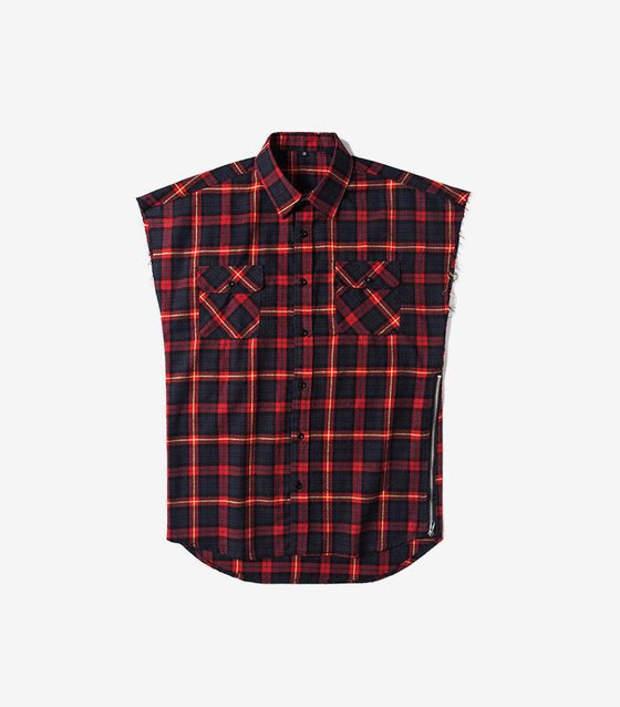 Image of LA red Sleeveless flannel