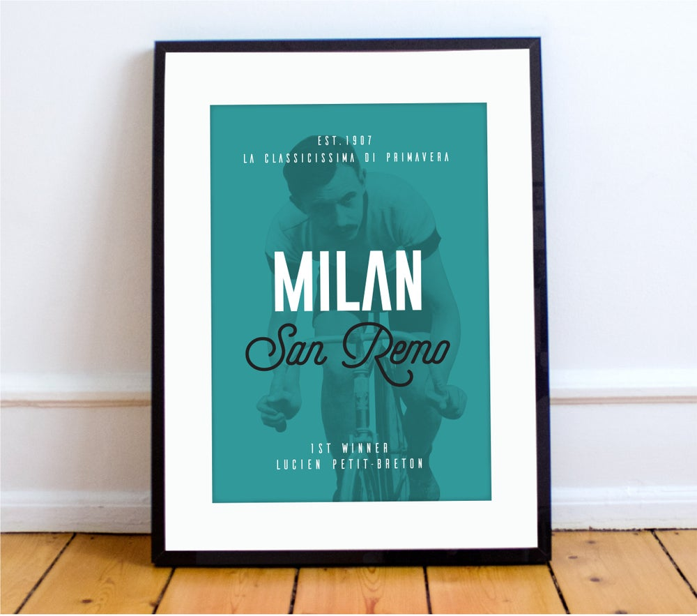 Image of Lucien at Milan San Remo print - A4 & A3