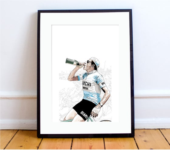 Image of Coppi celebrates print A4 - By Jason Marson