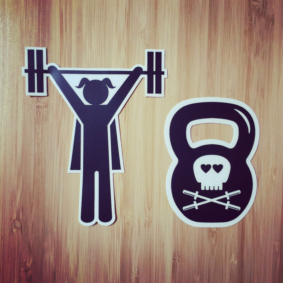 "Image of Strong Girl 4"" and Kettle Bell Stickers"