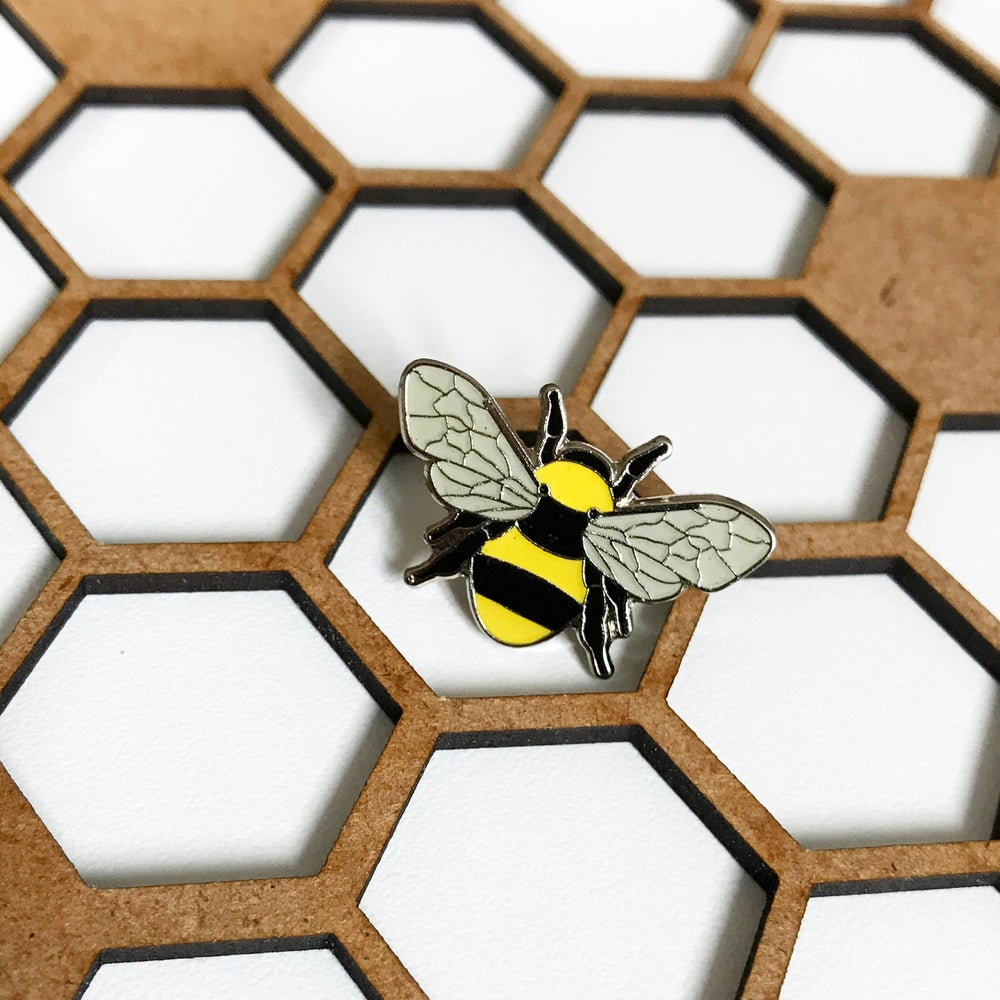 Image of MANCHESTER BEE ENAMEL PIN BADGE -CHARITY 100 BADGE - YELLOW