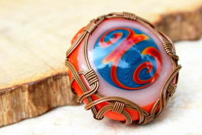 Image of Wig Wag Glass Wire Wrap Pendant