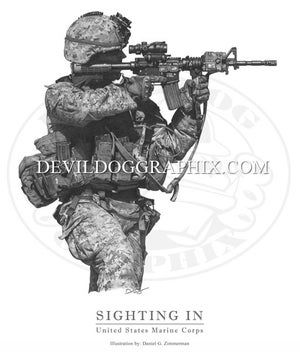 "Image of ""SIGHTING IN"" U.S. MARINE DRAWING PRINT"