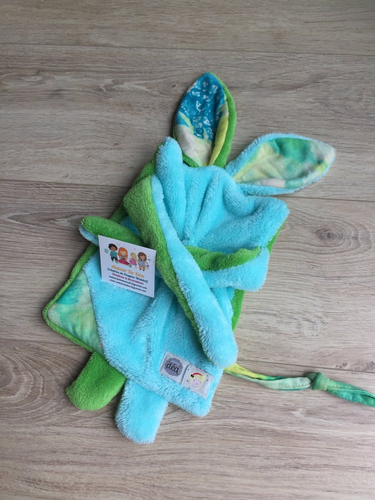 Image of Doudou plat l original turquoise et vert