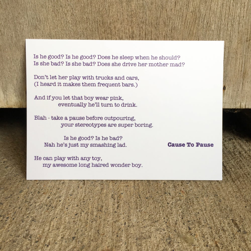 Image of Cause To Pause - Poem Postcard (Small - A6 size)