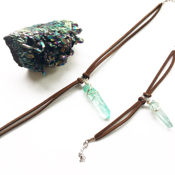 Image of Aqua Athena Choker / Bracelet - Quartz Crystal, vegan friendly faux suede SOLD OUT