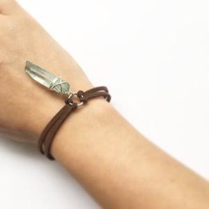 Image of Aqua Athena Choker / Bracelet - Quartz Crystal, vegan friendly faux suede SOLD OUT