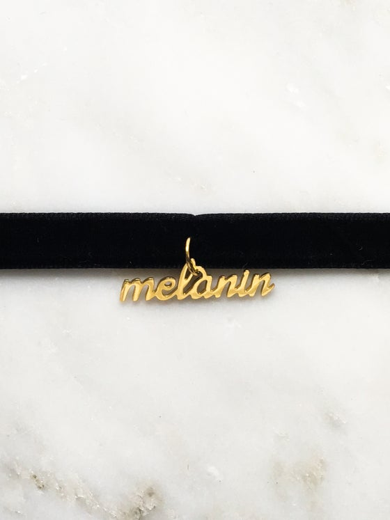 Image of Black Velvet Choker With Melanin Charm (ONLY)