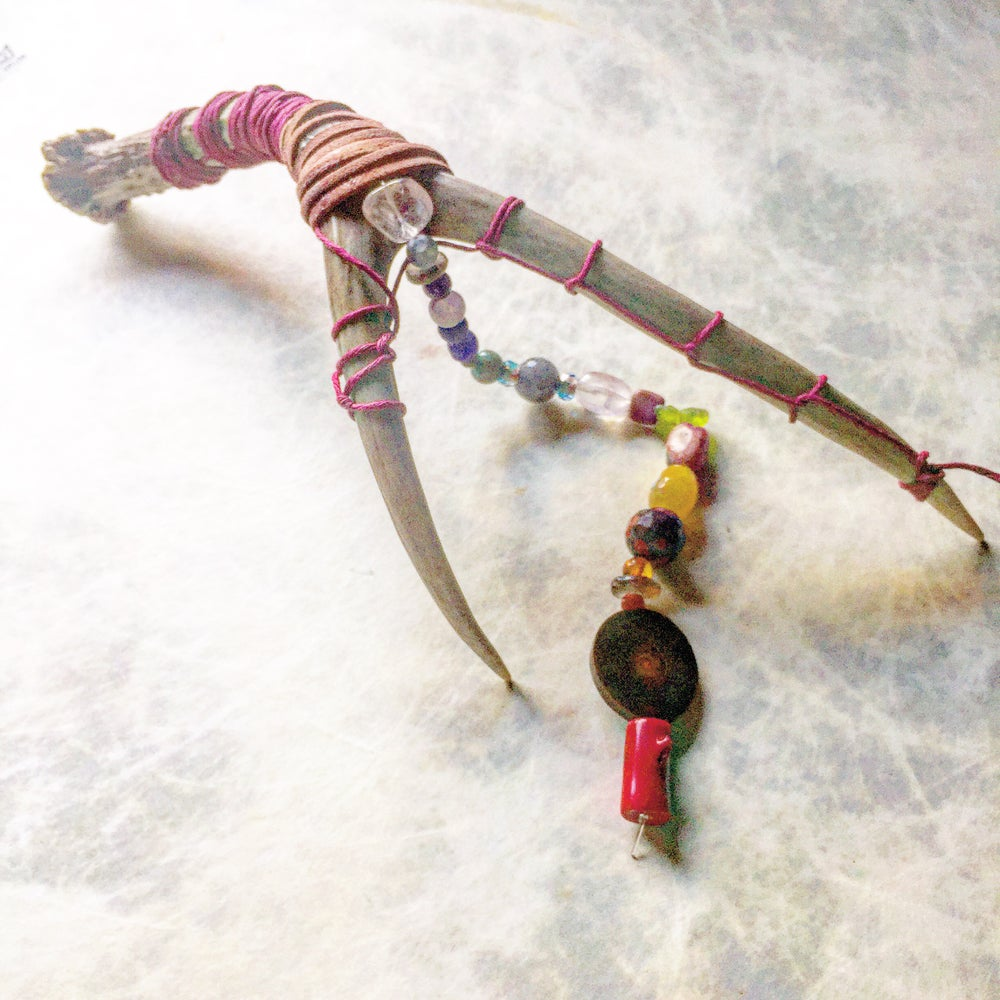 Image of Deer Antler Chakra Healing Wand/Dream Catcher *FOR GODDESS LISA*
