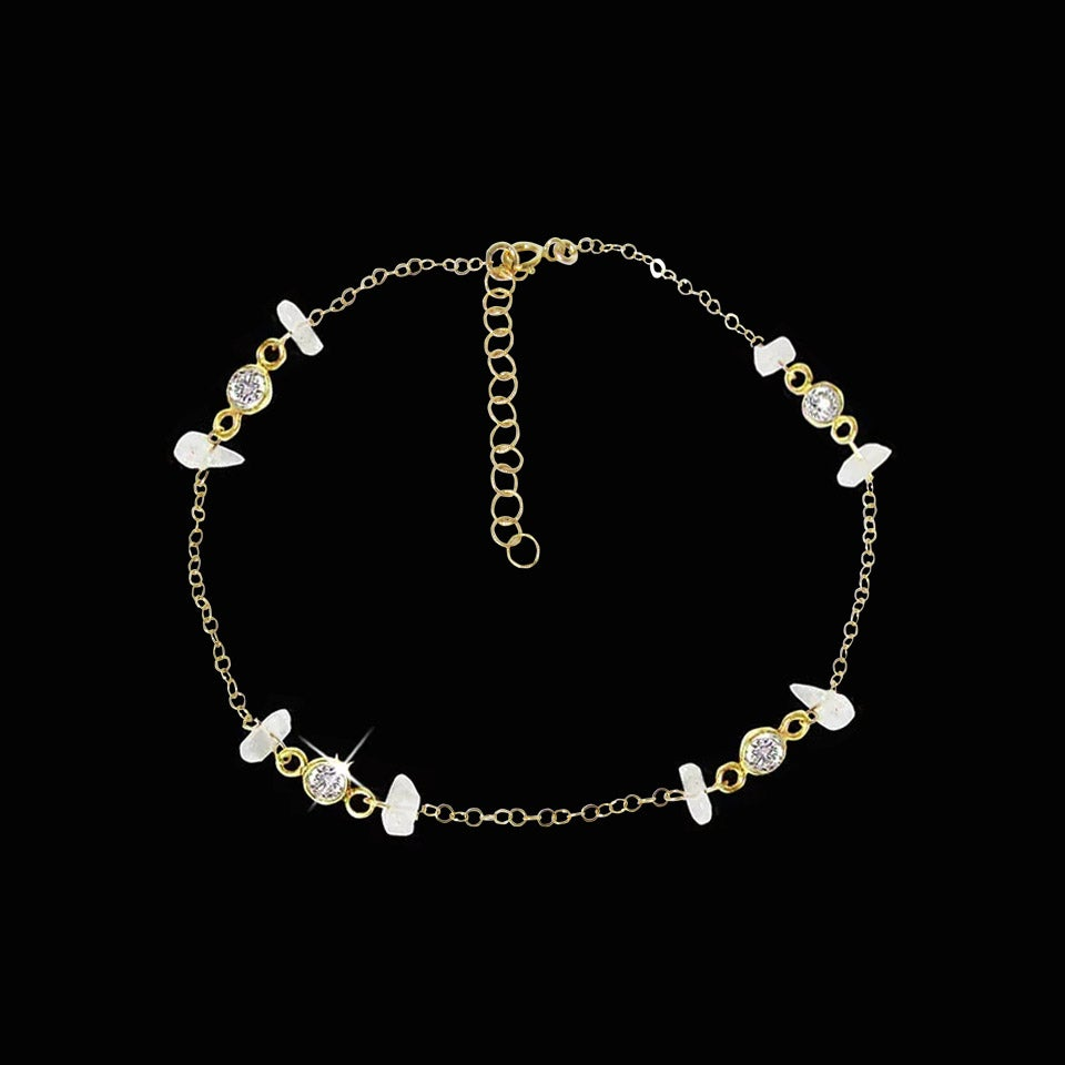 Image of Rainbow Moonstone & Topaz Anklet