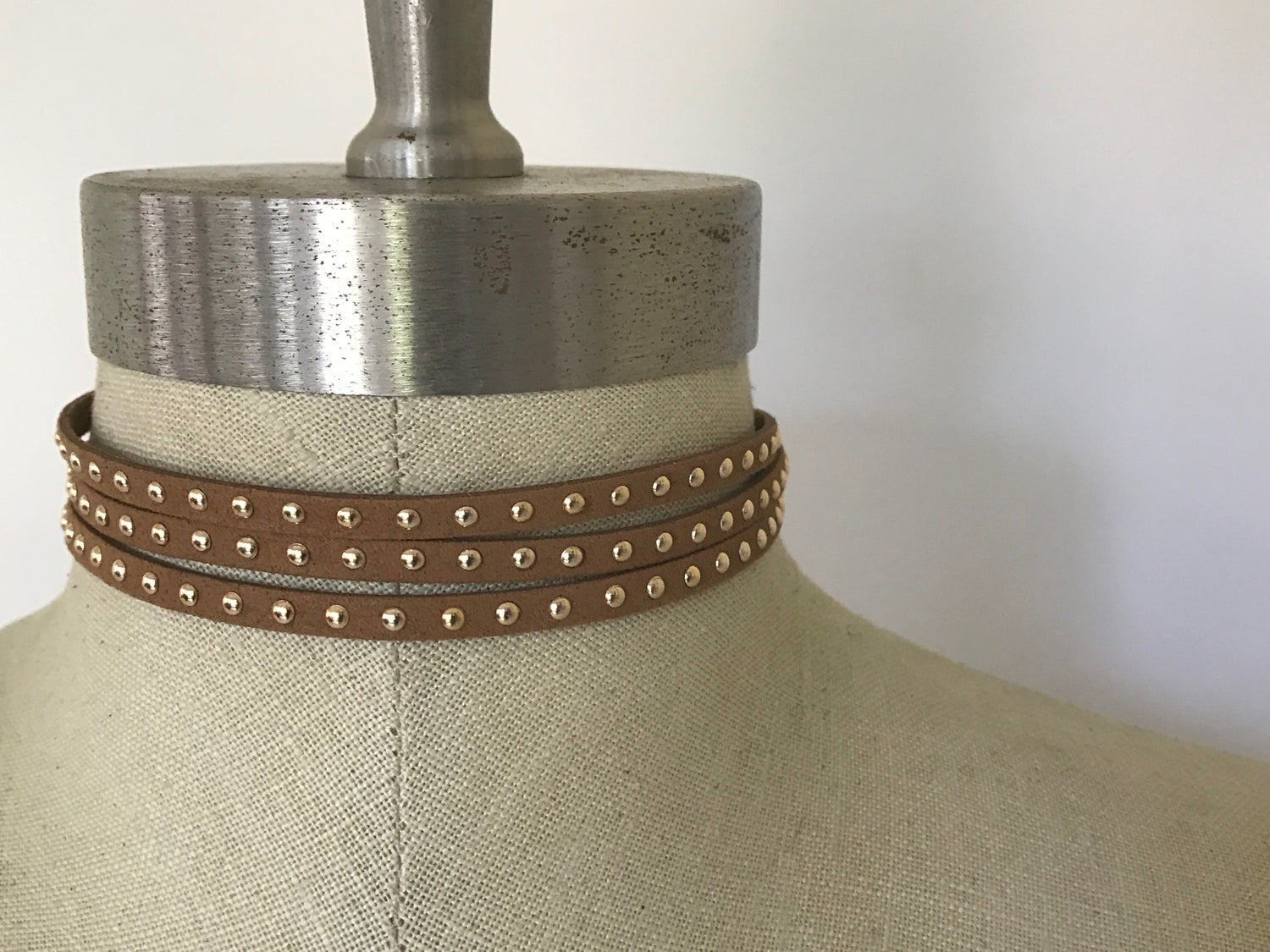 Image of Triple Tan Gold Studded Choker
