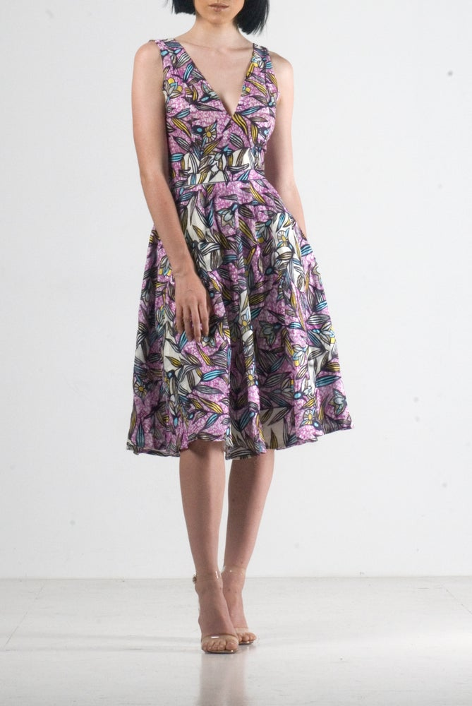 Image of Jessa plunge Neckline Midi Dress