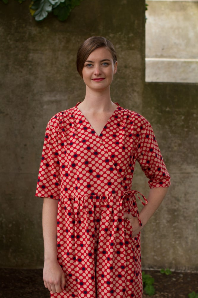 Image of Red, Blue and Natural Dotted Ikat Wrap Dress/Coat