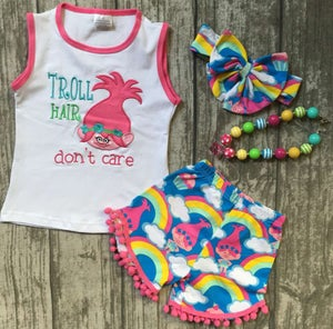 Image of Trolls rainbow pom pom short set