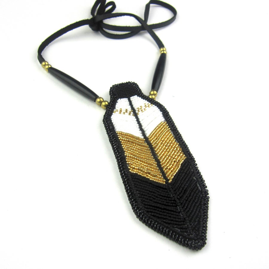 Image of Miigwan Beaded Pendant (Golden)