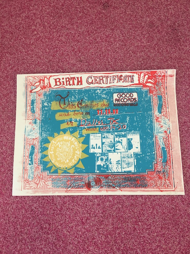 Image of Good Records Birth Certificate Poster