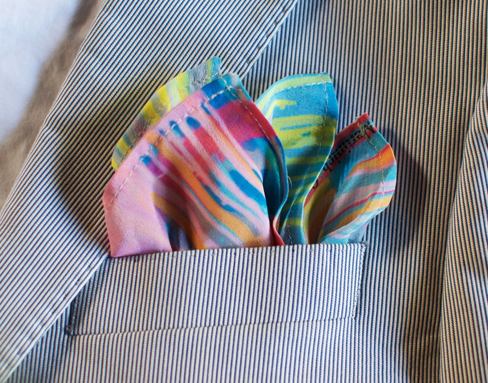 Image of 'Pink Rainbow' Silk Pocket Square