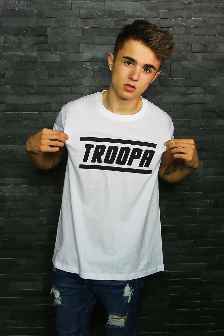 """Image of White 'TROOPA"""" Tee!"""