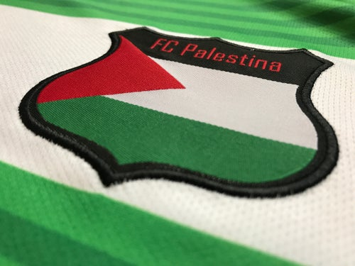 Image of Palestine White hooped (Green/White) Football Shirt