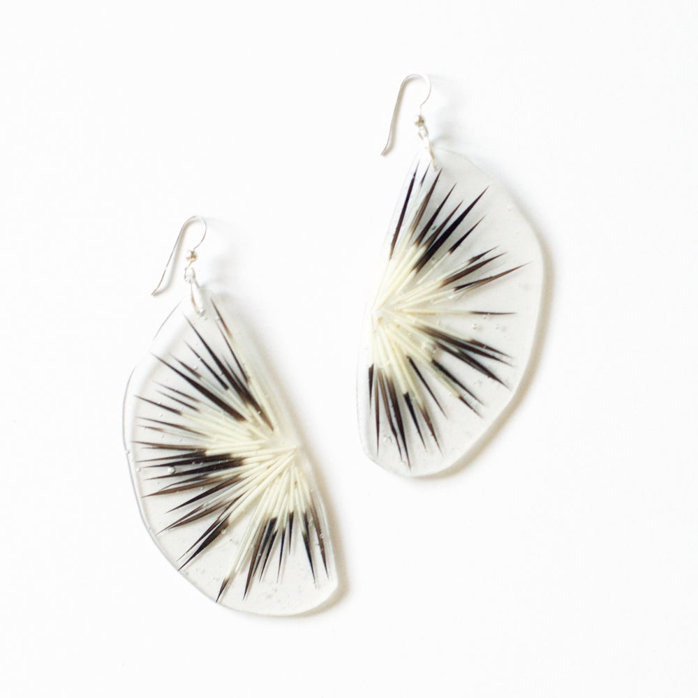 Image of Sealed in Ice Blooming Quill Earrings
