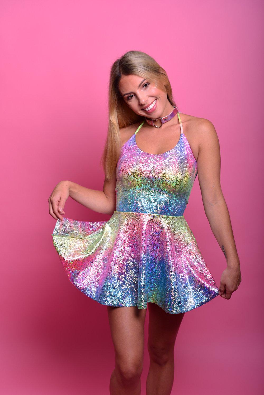 Image of Disco Prism Skater Dress