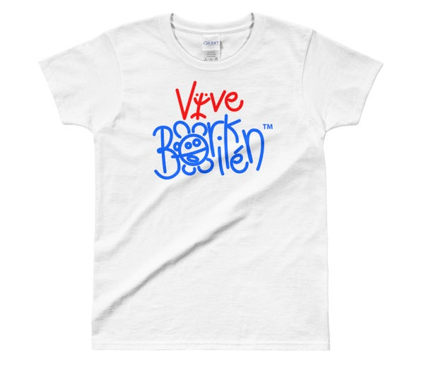 Image of Vive Borikén Official Logo - Classic White Tee with red/blue letters