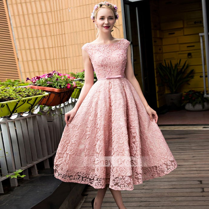 31efefad866 Image of Blush Pink Lace Illusion A-line Mid-Calf Waistband Prom Dress With