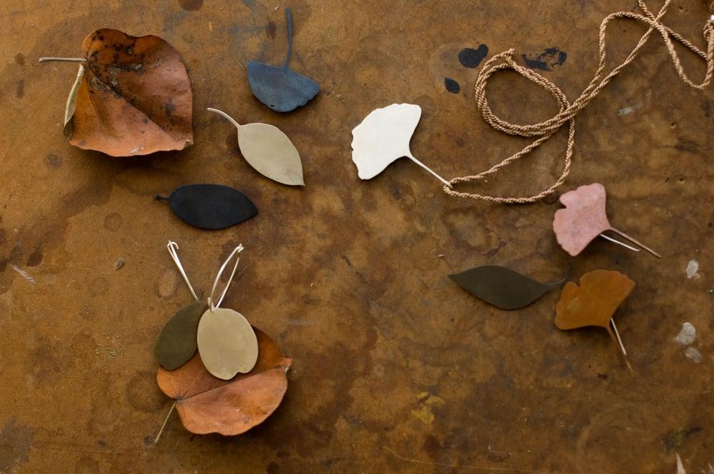 Image of Bicolour melaleuca leaf earrings