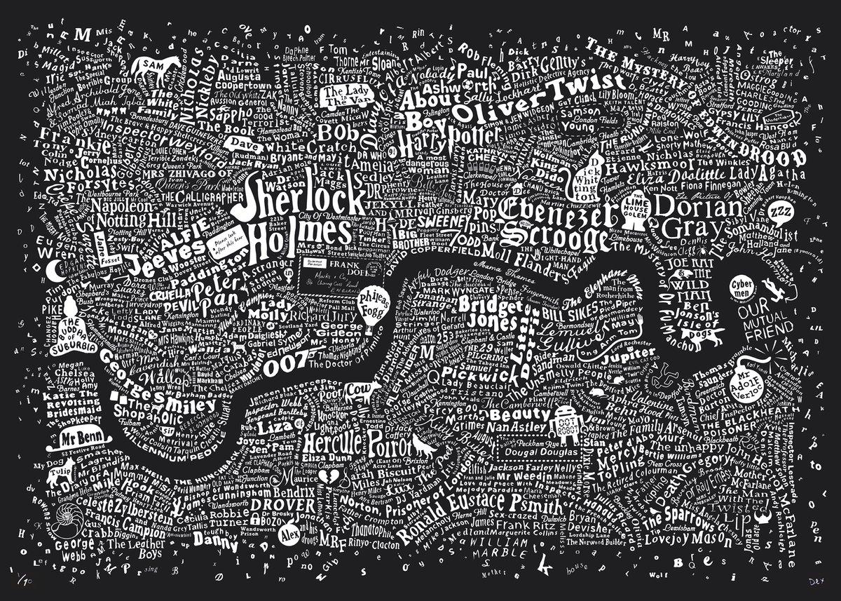Image of Literary London Map (Dark Blue Plike, 2017)
