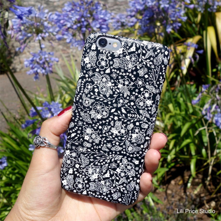 Image of Monochrome Flower Pattern Black Phone Case